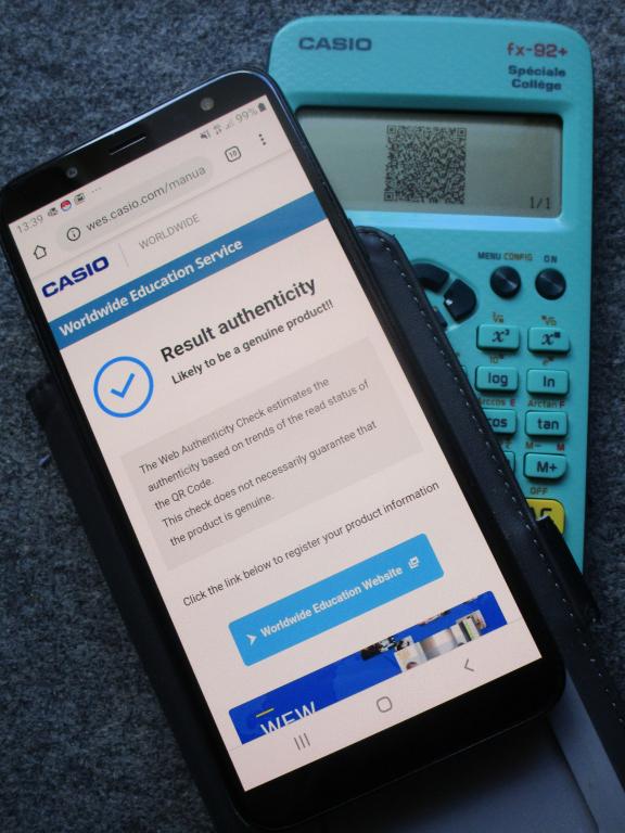 Casio fx-92+SC test authenticité