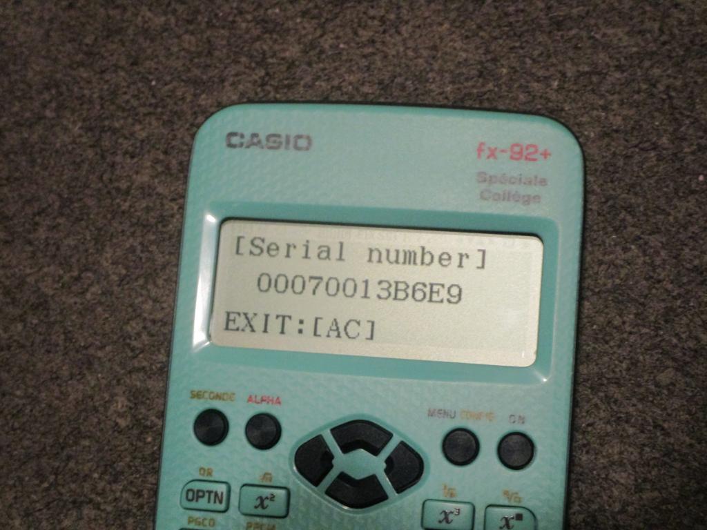 fx-92+SC + numéro série