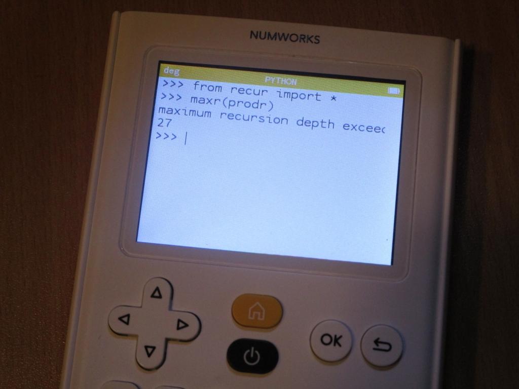 NumWorks : limite récursion