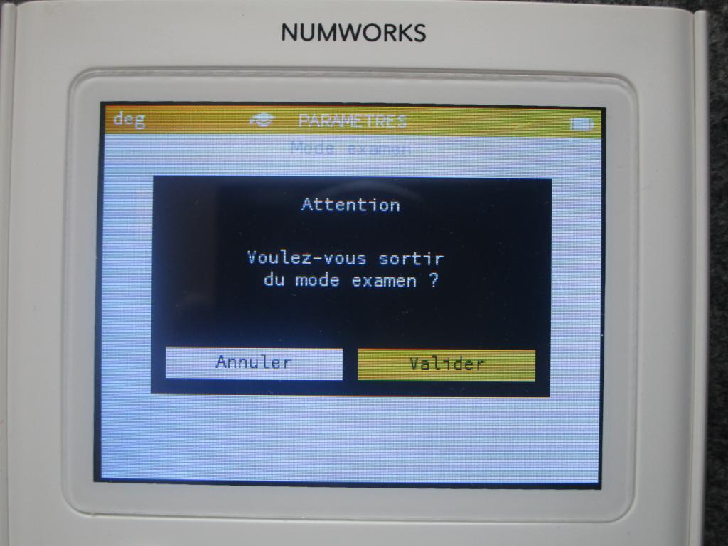 Mode examen NumWorks