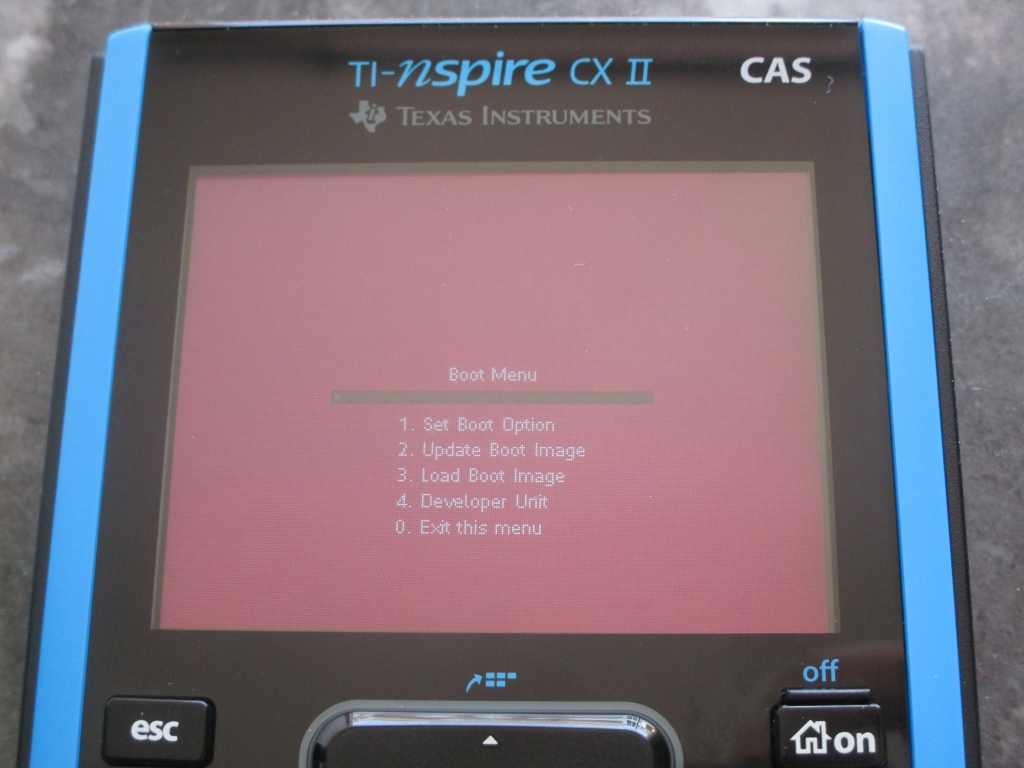TI-Nspire CX II : boot menu