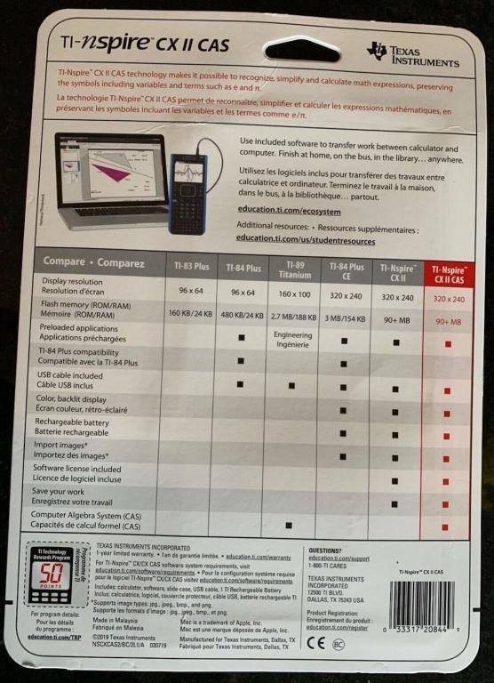 Emballage TI-Nspire CX II CAS