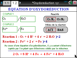SuperRedox : équilibrage d'équations d'oxydoréduction