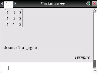 Tictactoe line code ti 82